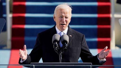 Prezident USA Joe Biden při svém inauguračním projevu.