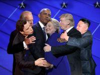 Láskyplné objetí Obamy a Clintonové baví internet