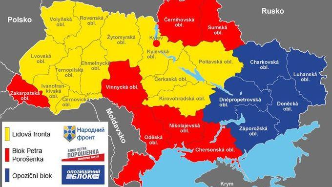 Mapa Zeme Tri Barev Tak Volby Znovu Rozdelily Ukrajinu Aktualne Cz