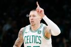 Apr 17, 2019; Boston, MA, USA; Boston Celtics center Daniel Theis (27) reacts during the first half in game two of the first round of the 2019 NBA Playoffs against the In