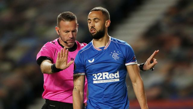 Soccer Football - Europa League - Round of 16 Second Leg - Rangers v Slavia Prague - Ibrox Stadium, Glasgow, Scotland, Britain - March 18, 2021 Rangers' Kemar Roofe looks