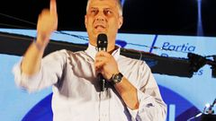Kosovo PM Thaci speaks during a campaign rally in Gjakova