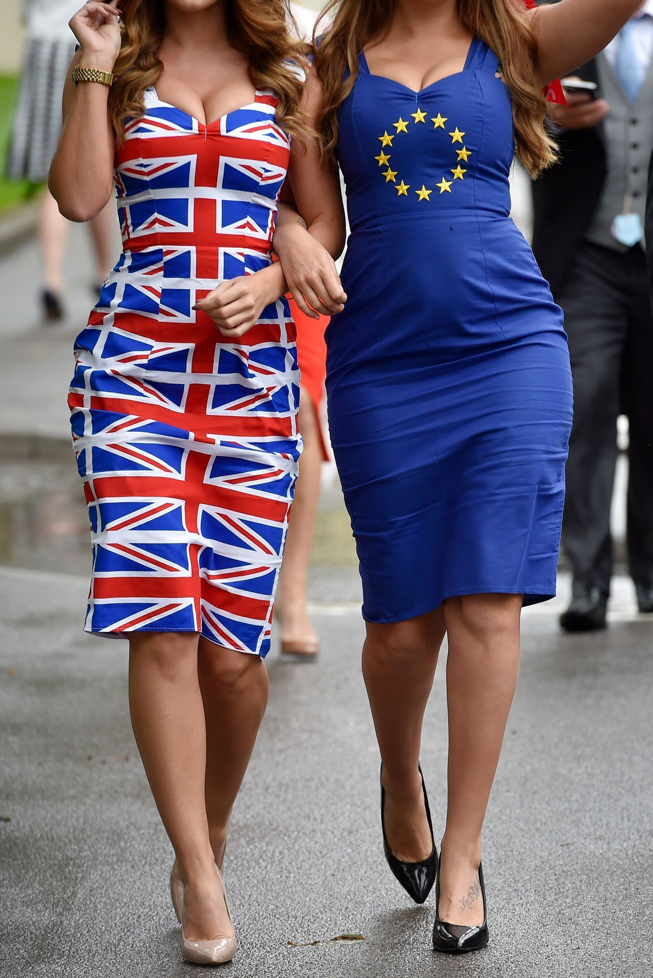 Brexit General view of racegoers in Britain and EU referendum themed dresses