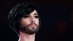 Last year's winner Conchita Wurst of Austria performs before the second semifinal of the upcoming 60th annual Eurovision Song Contest in Vienna