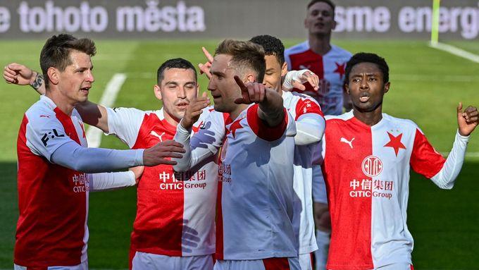 Slavia slaví branku v pohárovém semifinále se Spartou