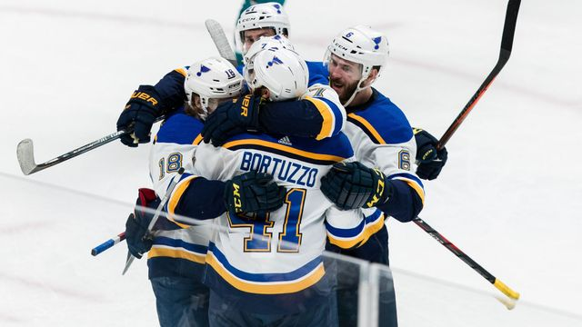 May 13, 2019; San Jose, CA, USA; St. Louis Blues defenseman Robert Bortuzzo (41) celebrates after scoring a goal against the San Jose Sharks after in the second period of
