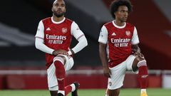 fotbal, anglická liga 2020/2021, Premier League - Arsenal v West Ham United, Alexandre Lacazette, Willian