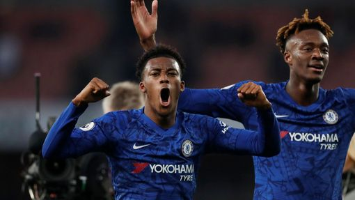 Soccer Football - Premier League - Arsenal v Chelsea - Emirates Stadium, London, Britain - December 29, 2019 Chelsea's Tammy Abraham celebrates after the match with Callu