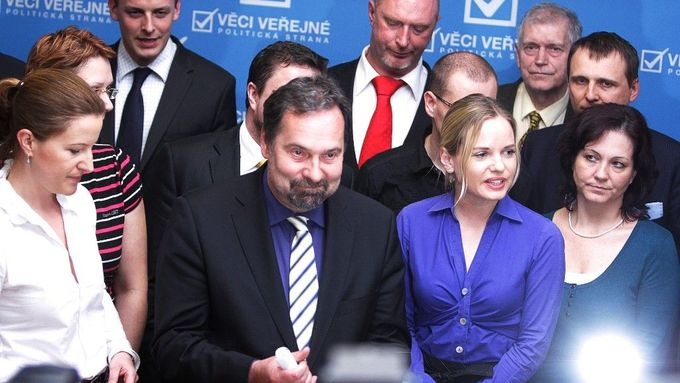 Interior Minister and chairman of Public Affairs Radek John announces that Kristýna Kočí and Stanislav Huml were expelled from the party's parliamentary group