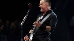 Hetfield of Metallica performs on the Pyramid Stage at Worthy Farm in Somerset, during the Glastonbury Festival