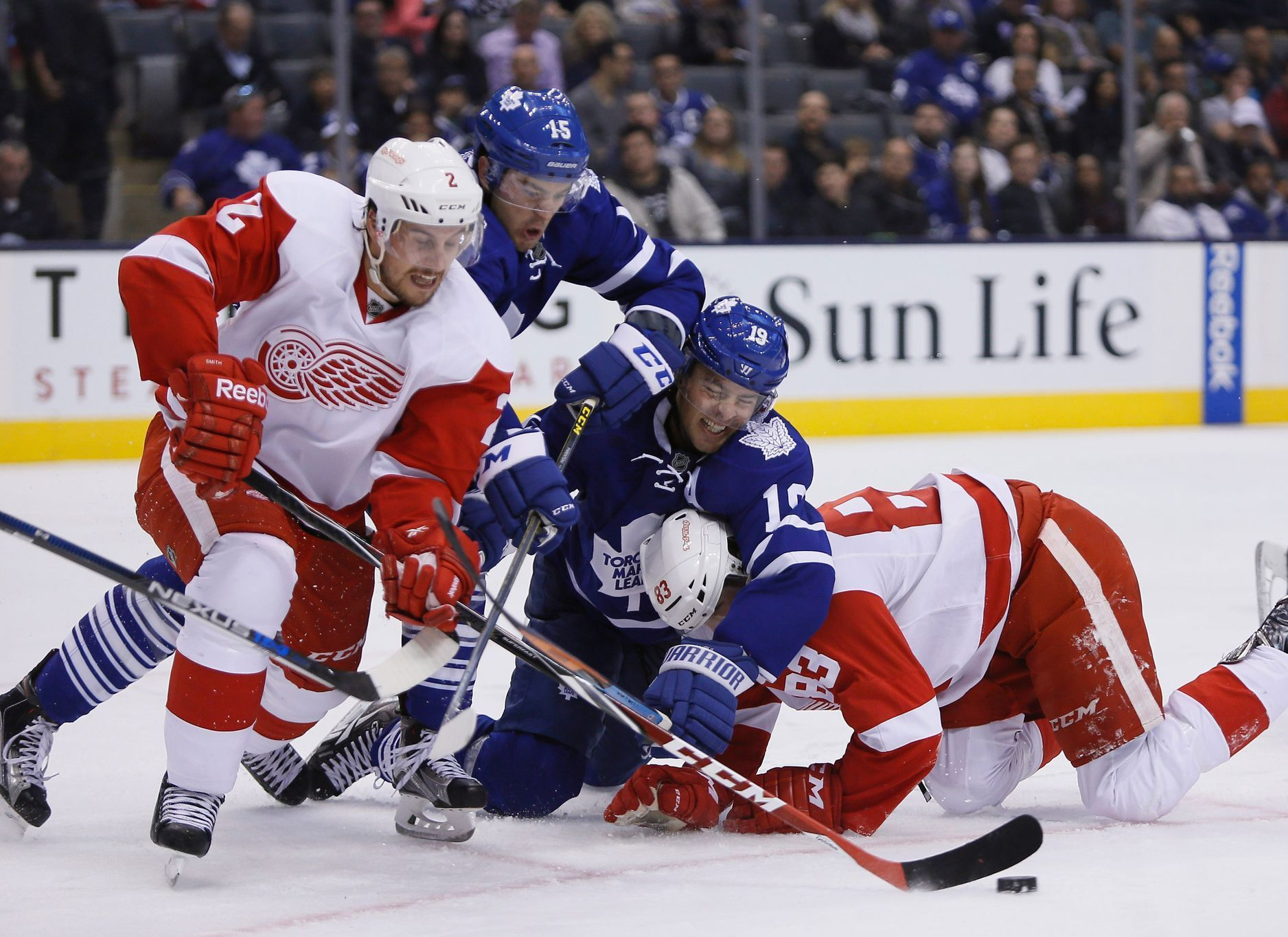 NHL: Preseason-Detroit Red Wings vs Toronto Maple Leafs (Smith, Nosek, Parenteau,Lupul)