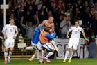 Stoch of Slovakia celebrates his goal against Spain with team mates during their Euro 2016 qualification soccer match at the MSK stadium in Zilina