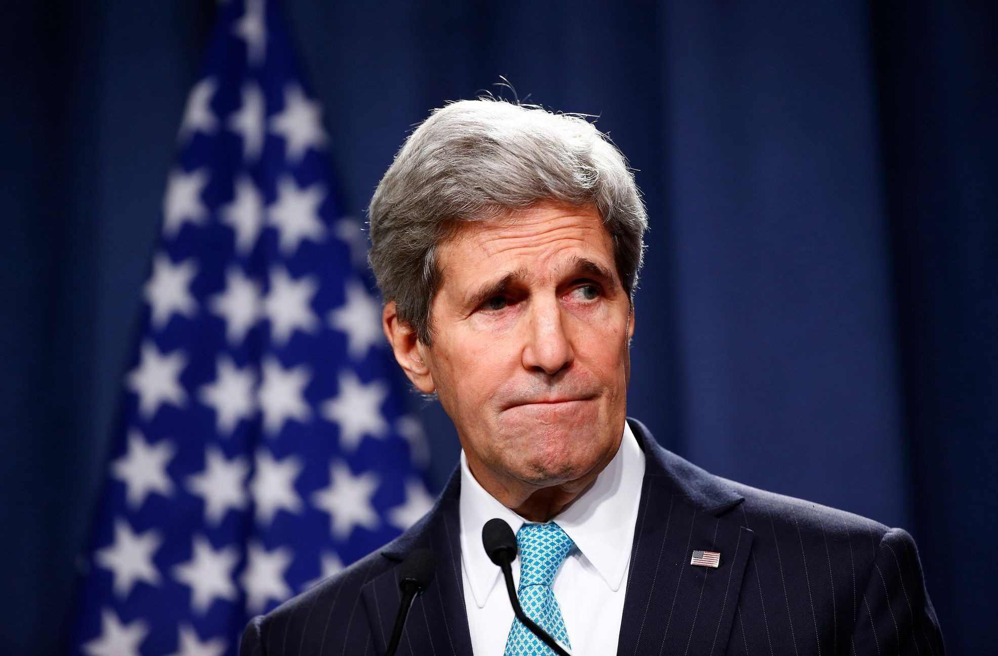 John Kerry attends media after talks on situation in Ukraine in Geneva