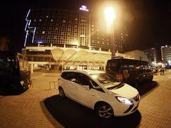 Cíl testovacích jízd byl u hotelu Hilton.