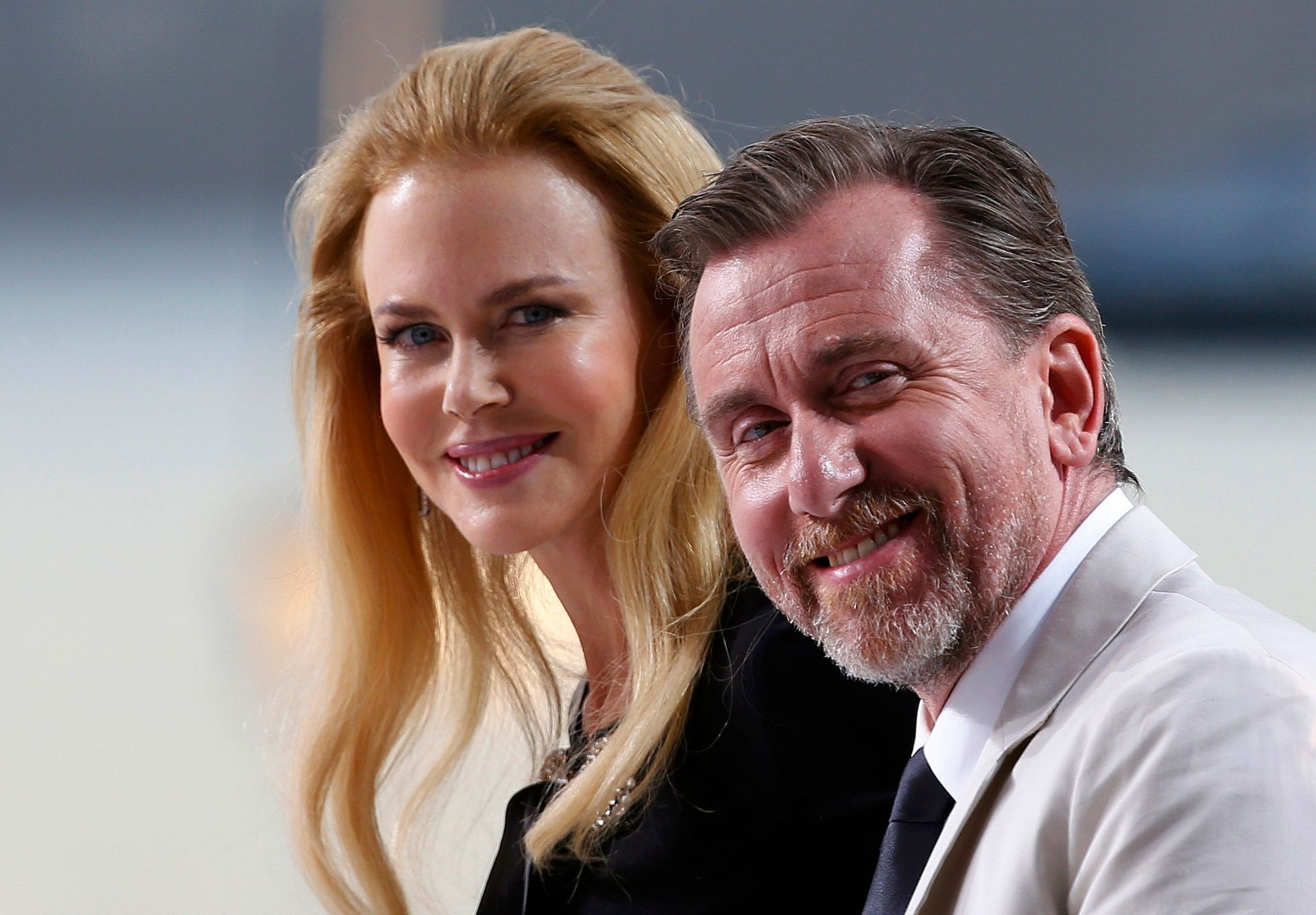 Actress Nicole Kidman and actor Tim Roth are seen at the Grand Journal de Canal+ television studio on the Croisette on the eve of the opening of the 67th Cannes Film Festival in Cannes