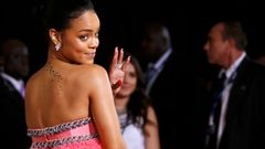 Singer Rihanna arrives at the 57th annual Grammy Awards in Los Angeles