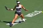 Mar 17, 2019; Indian Wells, CA, USA; Bianca Andreescu (CAN) hits a shot as she defeated Angelique Kerber (not pictured) in the final match of the BNP Paribas Open at the