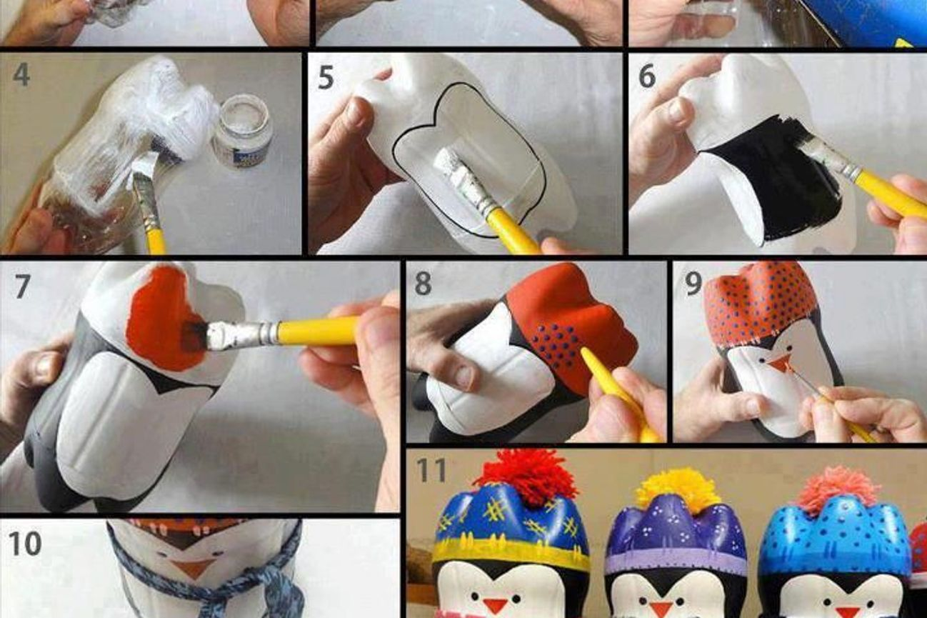 Как сделать пингвина из бутылок