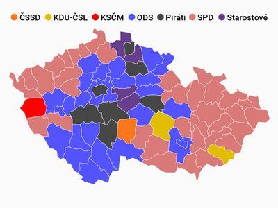 Barevnější mapa Česka: ANO a ti druzí. Babiš vyhrál všude. Kdo kde skončil druhý za ním?