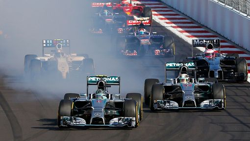 Mercedes Formula One driver Nico Rosberg of Germany leads nect to Mercedes Formula One driver Lewis Hamilton of Britain (R) after the start of the first Russian Grand Pri