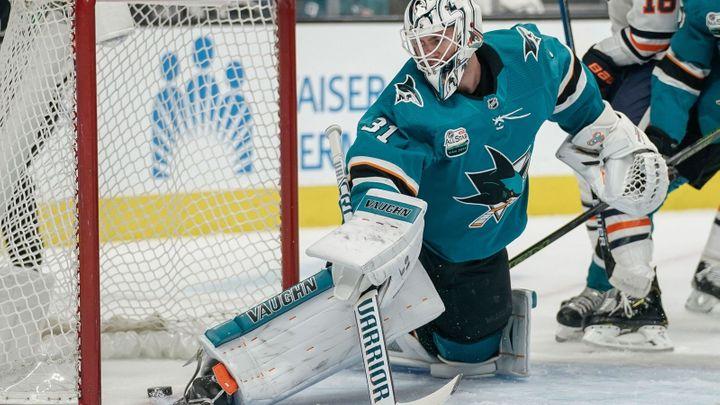 Uzdravený Hertl bodoval proti Edmontonu, prohru ale neodvrátil