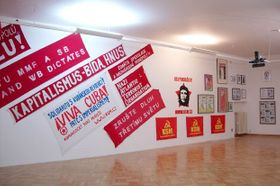 Graffiti artists invade young communists' exhibition