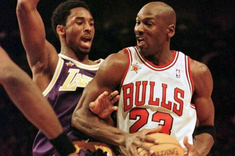 FILE PHOTO: Bulls Jordan And Lakers Bryant in NBA All Star Game in New York
