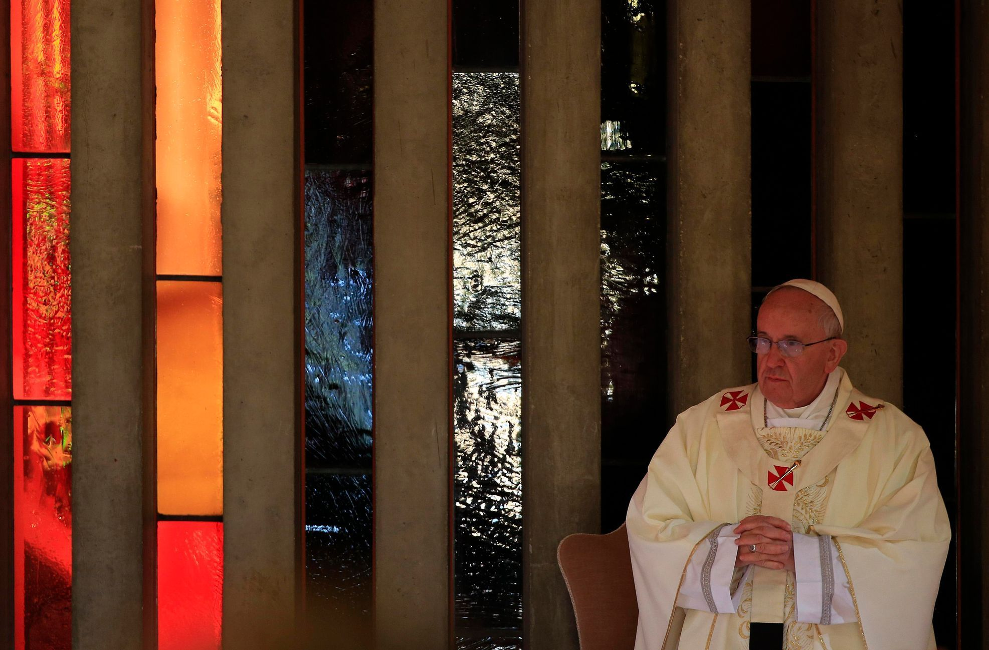 Pope Francis attends a mass at the S. Maria della Provvidenza church in Rome