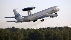 A NATO AWACS aircraft takes-off for training mission from the AWACS air base in Geilenkirchen near the German-Dutch border
