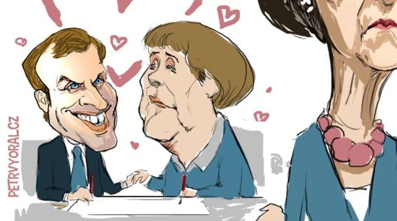 Kresba: Macron a Merkelová podepsali smlouvu, Mayová žárlí, proč asi