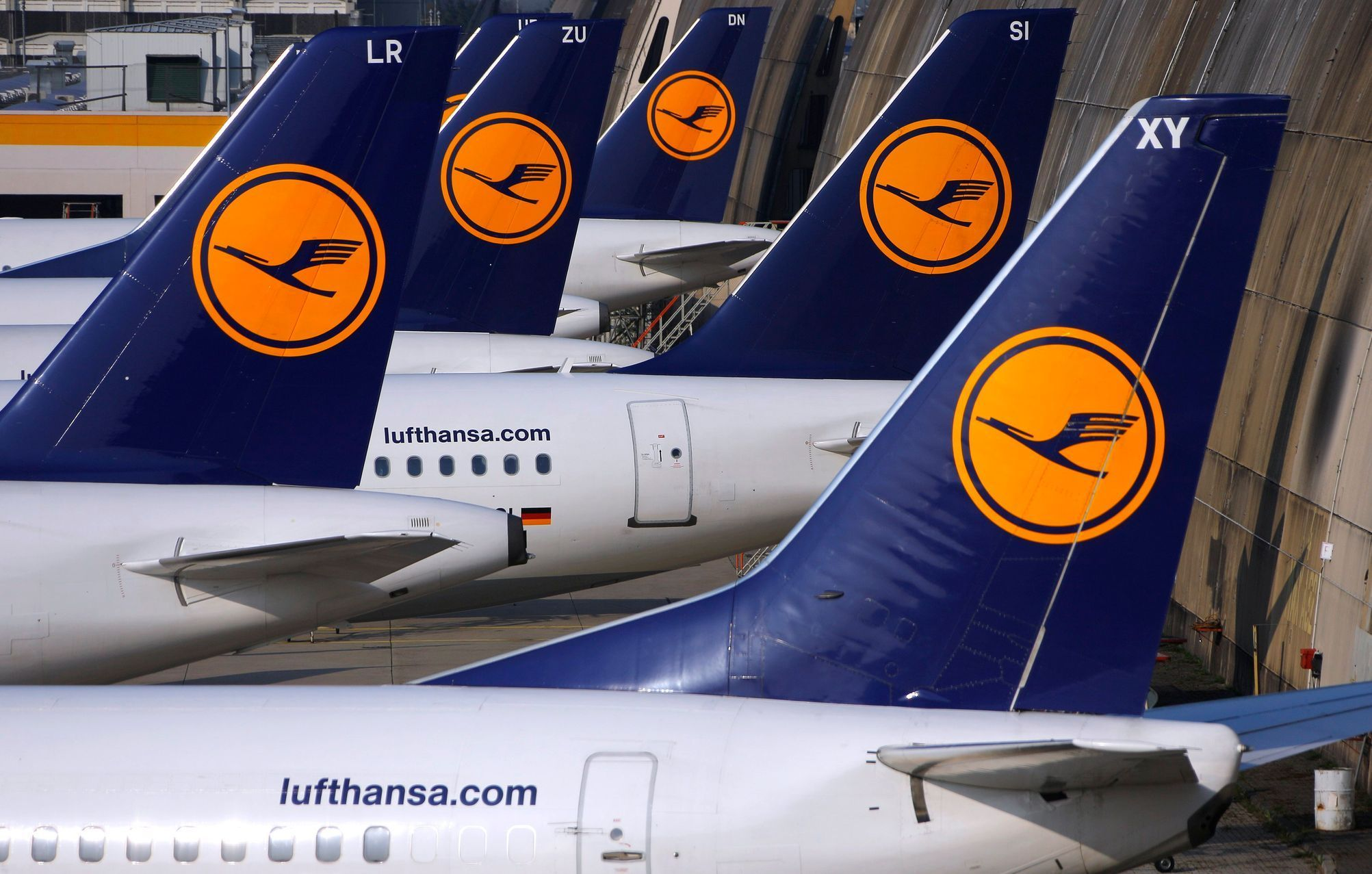 Aircraft of German airline Lufthansa are parked on the apron at Fraport airport in Frankfurt