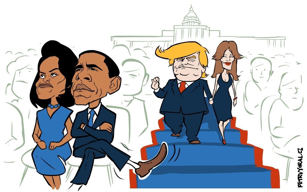Obama Trump inaugurace kresba