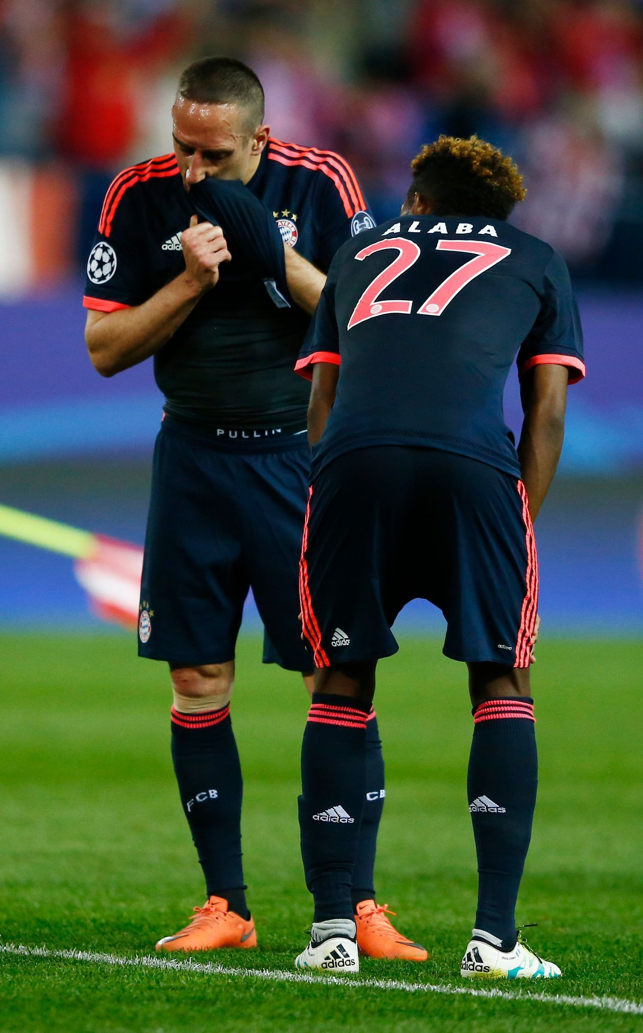 Bayern Munich's Franck Ribery and David Alaba look dejected at the end of the match