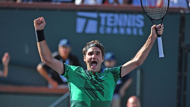 Roger Federer slaví triumf v Indian Wells