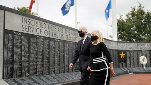 Democratic U.S. presidential candidate and former Vice President Joe Biden and his wife Jill visit the War Memorial Plaza during Memorial Day, amid the outbreak of the co