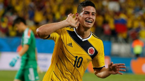 Kolumbijský fotbalista James Rodríguez na MS ve fotbale 2014