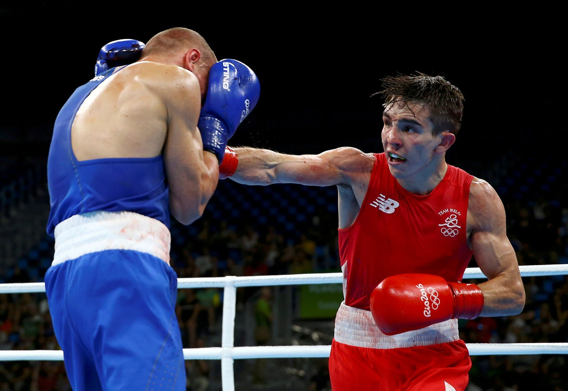 FILE PHOTO: Michael Conlan of Ireland and Vladimir Nikitin of Russia compete in Olympic boxing in Rio de Janeiro, Brazil - 16/08/2016