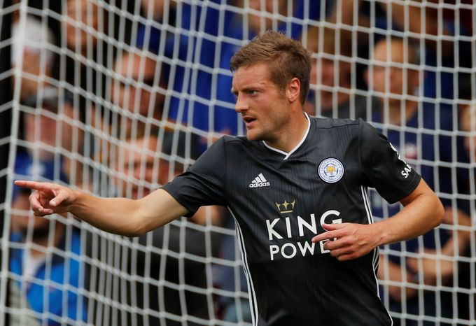 Soccer Football - Pre Season Friendly - Cheltenham Town v Leicester City - The Jonny-Rocks Stadium, Cheltenham, Britain - July 20, 2019   Leicester City's Jamie Vardy cel