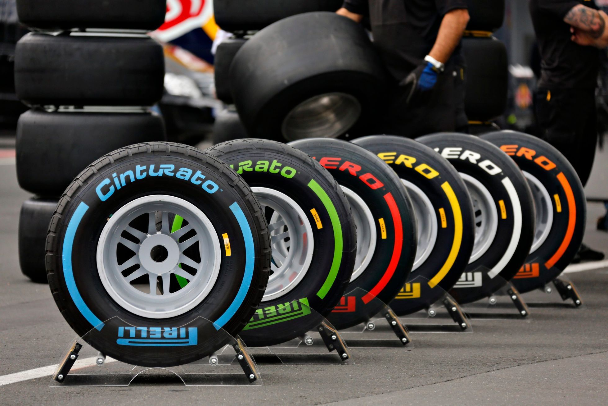 The full range of Formula One tyres of Italian official F1 t