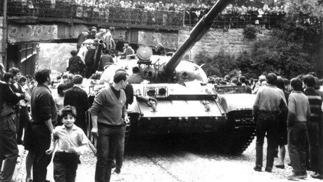 Soviet tank in Liberec surrounded by civilians