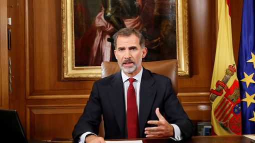 Španělský král Felipe VI. pronáší projev k národu.