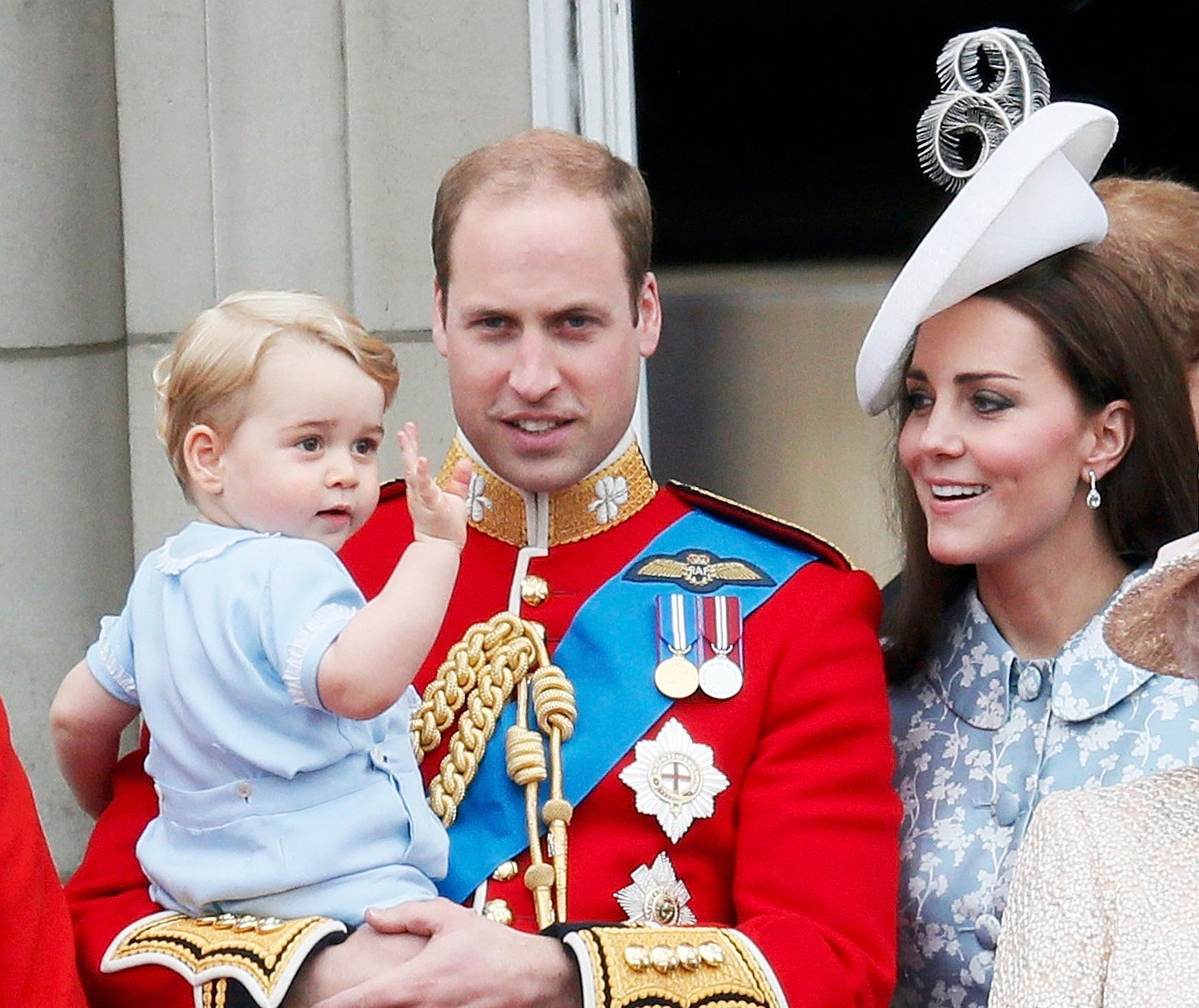 prince Willian, princ George a Catherine - Trooping Colour