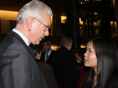 Talking up the support. Zoya Phan speaking to the European Parliamen's president Hans-Gert Poettering
