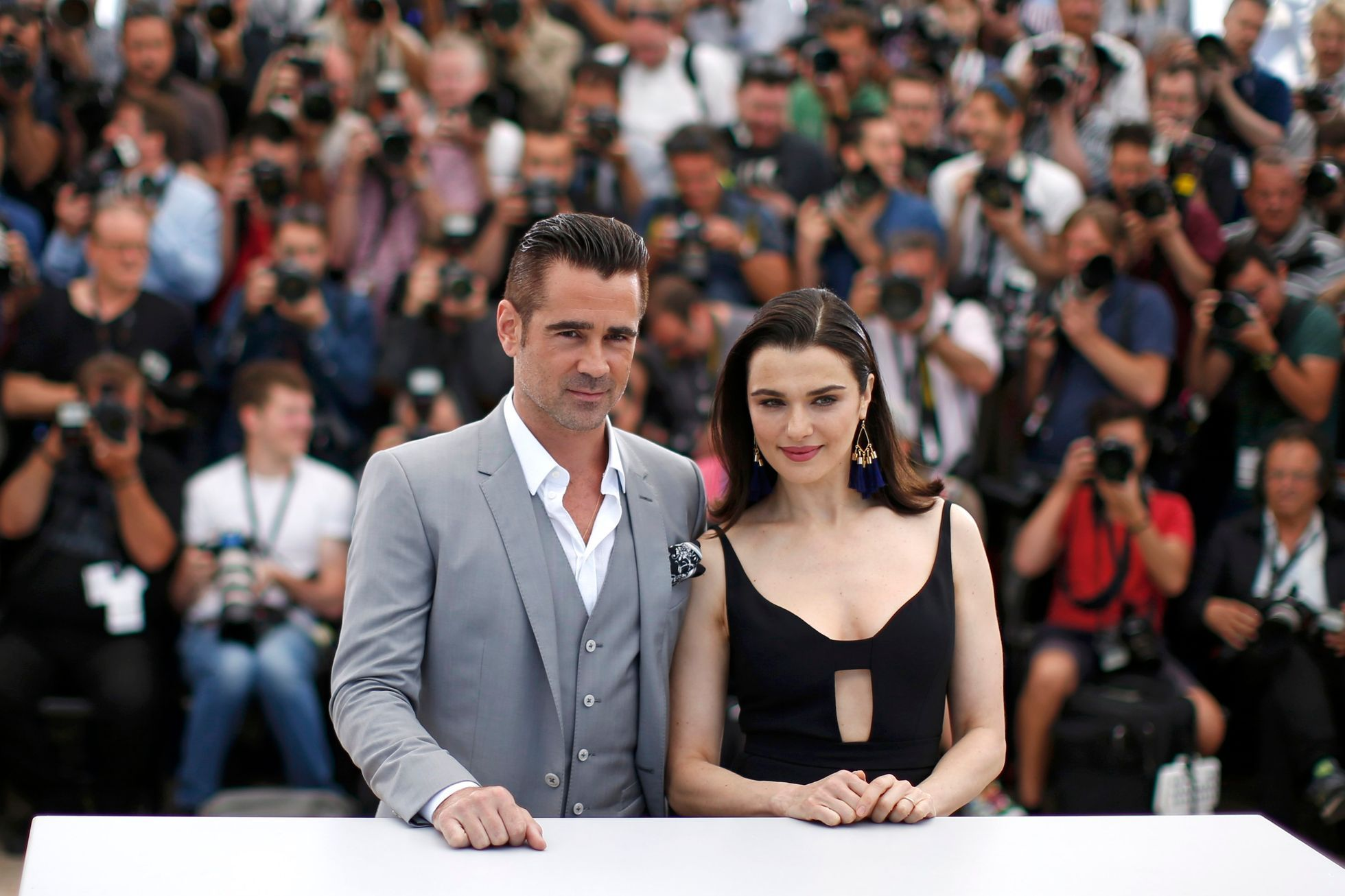 "Cast members Rachel Weisz and Colin Farrell pose during a photocall for the film ""The Lobster"" in competition at the 68th Cannes Film Festival in Cannes"