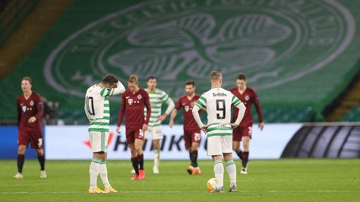 Smutek Celticu v zápase Celtic Glasgow - Sparta PRaha