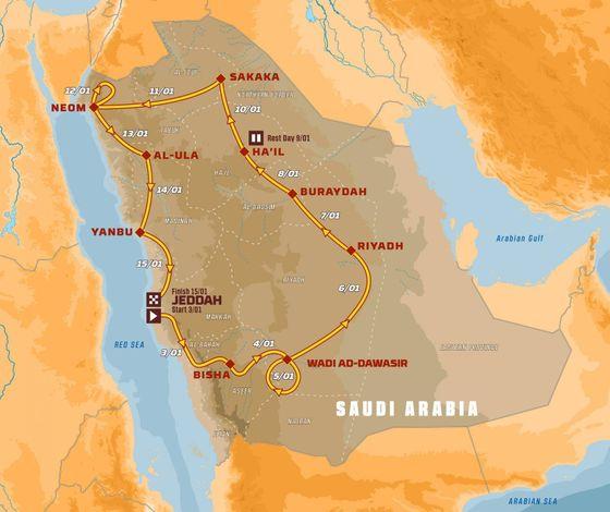 Mapa Rallye Dakar 2021