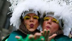 "Women dressed in costumes celebrate during ""Weiberfastnacht"" (Women's Carnival)) in Cologne"