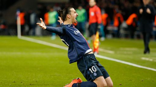 Zlatan Ibrahimovic celebrates scoring the first goal for Paris St Germain