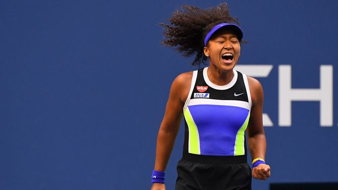 Sep 12, 2020; Flushing Meadows, New York, USA; Naomi Osaka of Japan reacts during the third set against Victoria Azarenka of Belarus in the women's singles final match on
