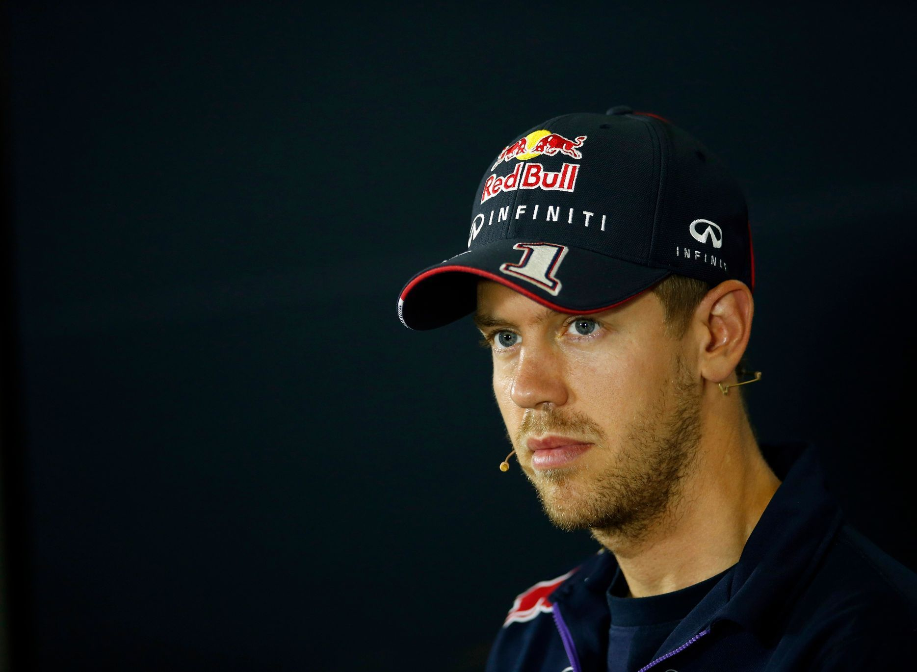 Red Bull Formula One driver Sebastian Vettel of Germany attends a news conference ahead of the Spanish F1 Grand Prix at the Barcelona-Catalunya Circuit in Montmelo